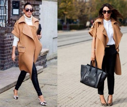 tan winter coat outfit