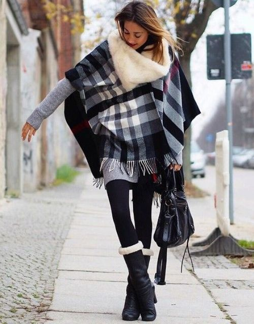 tartan black and gray poncho
