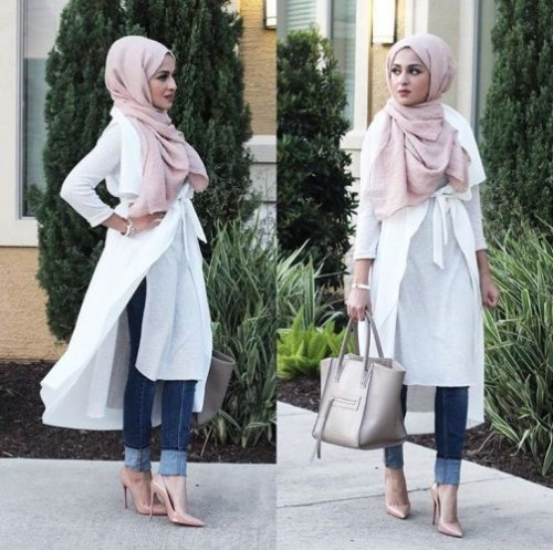 white hijab tunic