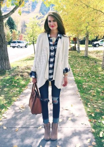 white knit cardigan with flannel