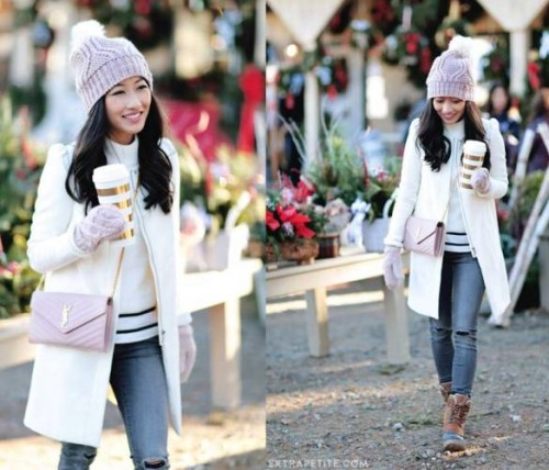 white puffy coat outfit