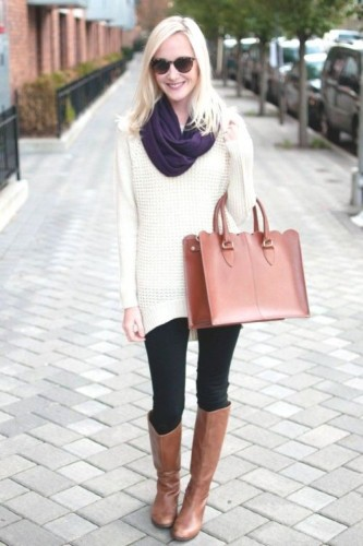 white sweater with cognac boots