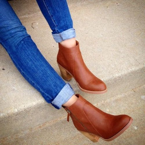 Cognac ankle booties