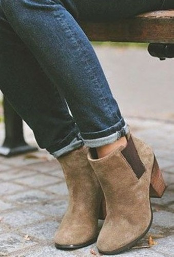 Neutral suede ankle booties