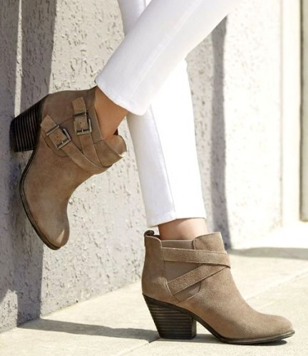Taupe suede booties with crisscross buckled straps