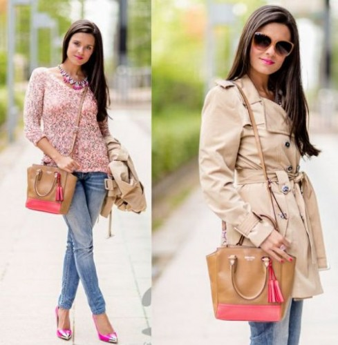 beige trench coat street style