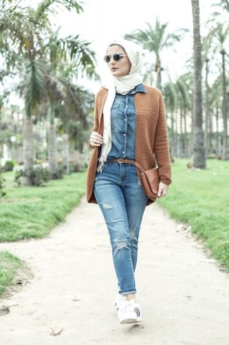 block colors hijab outfit