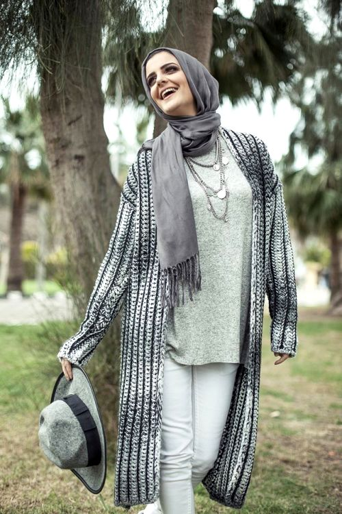 gray long cardigan outfit