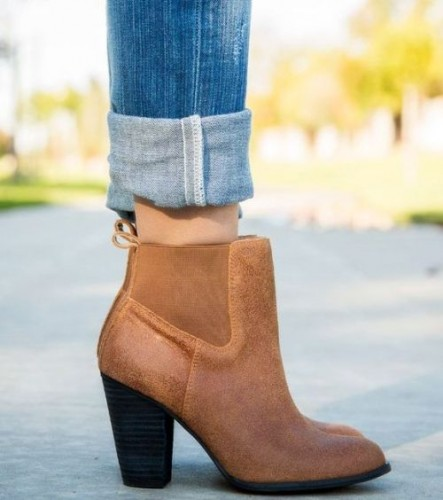 leather tan bootie