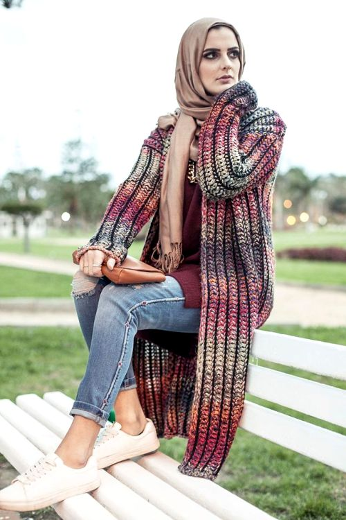 maroon knit cardigan winter hijab