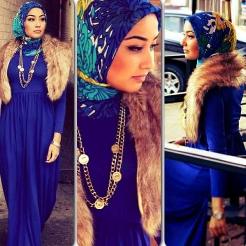 maxi dress with fur shawl