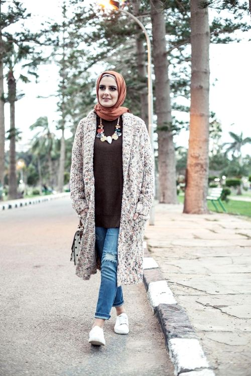 neutral long knit cardigan