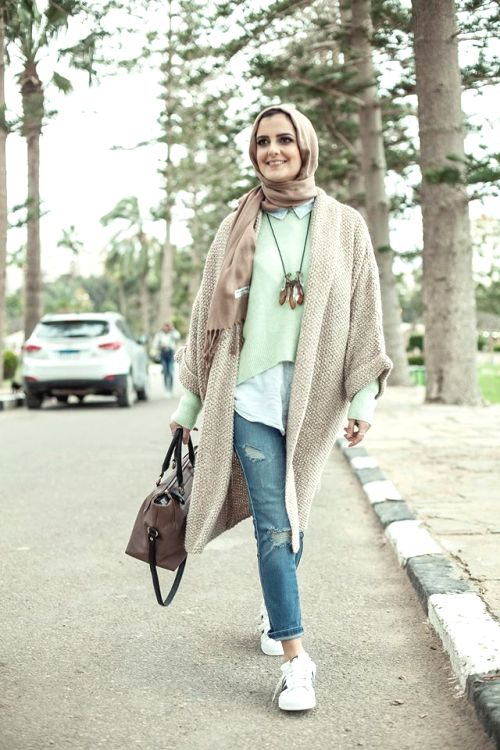 pastel colors hijab winter look