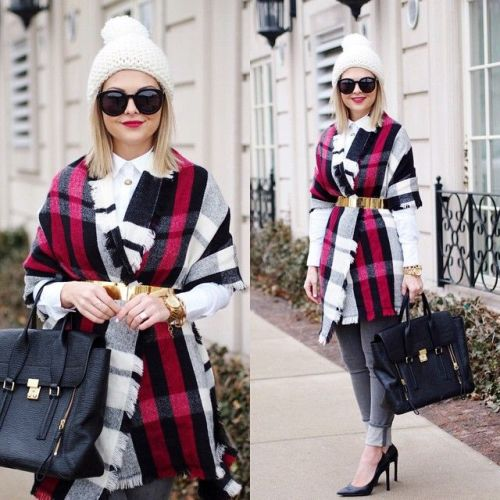 plaid scarf styling look