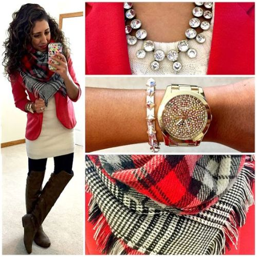 red blazer combo outfit