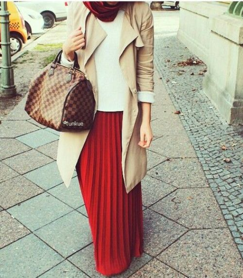 red maxi dress camel coat