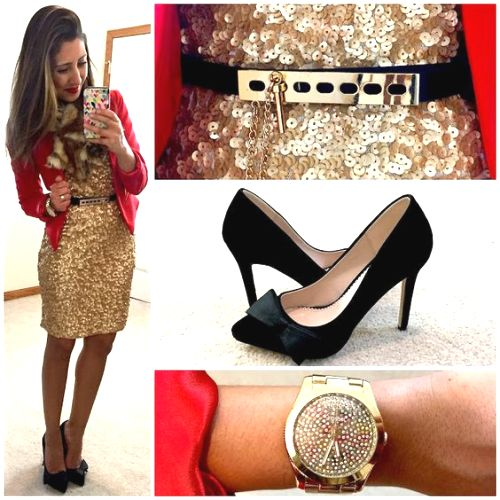 sequin golden short dress outfit