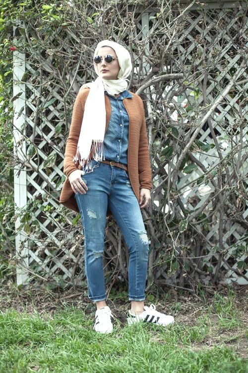 tan cardigan with denim shirt