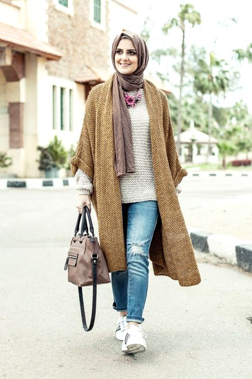 tan knit cardigan winter hijab