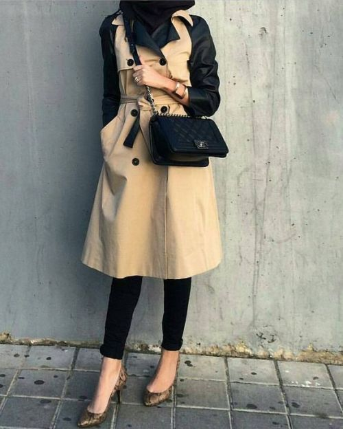 trench coat hijab look