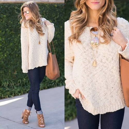 beige sweater with denim