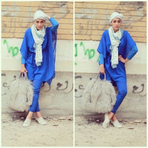 blue hijab outfit