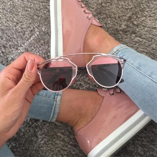 blush pink sunnies and sneakers
