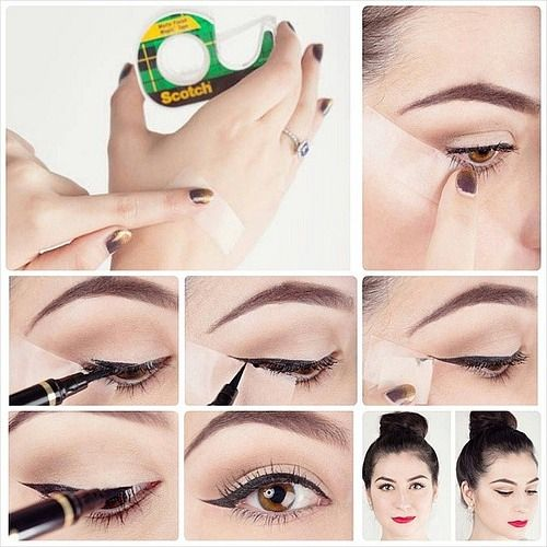 eyeliner with scotch tape