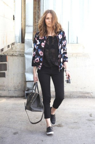 floral bomber jacket outfit