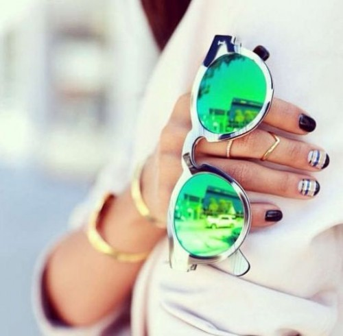 fresh green mirror sunglasses
