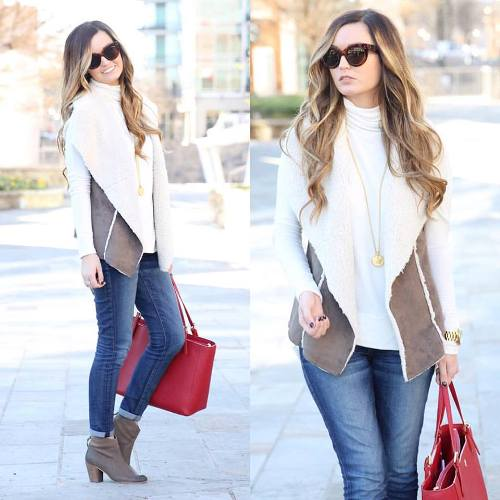 fur vest casual look