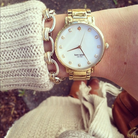 golden watch with chain bracelets