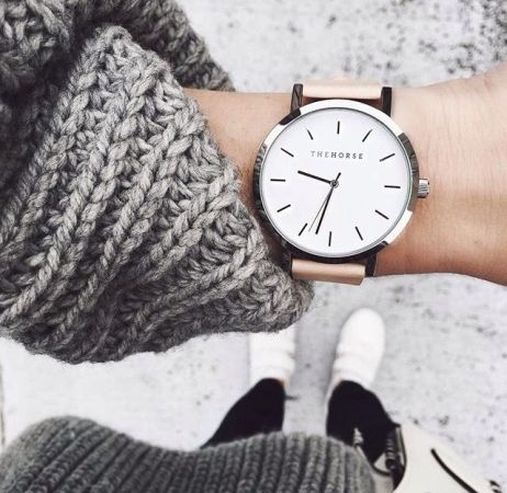 gray knit sweater with watch