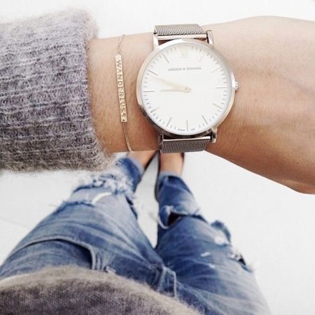 gray sweater with watch
