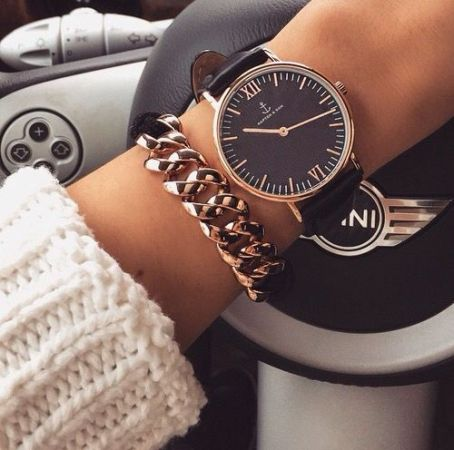 knit sweater with watch