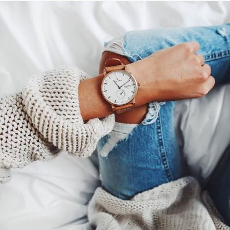 leather watch with sweater