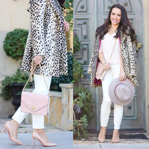 leopard coat in pastel tones