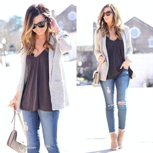 light gray cardigan with top