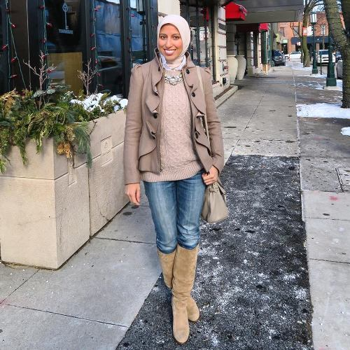 neutral hijab outfit