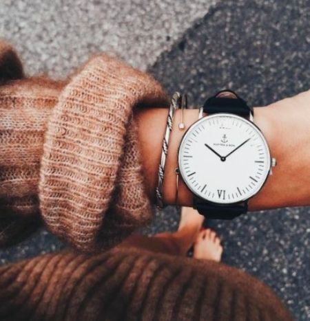 nude sweater with watch