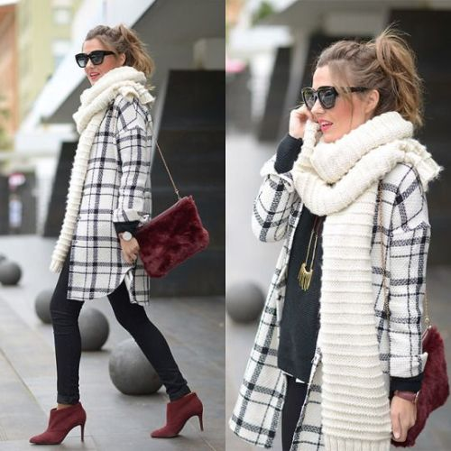 plaid coat with scarf