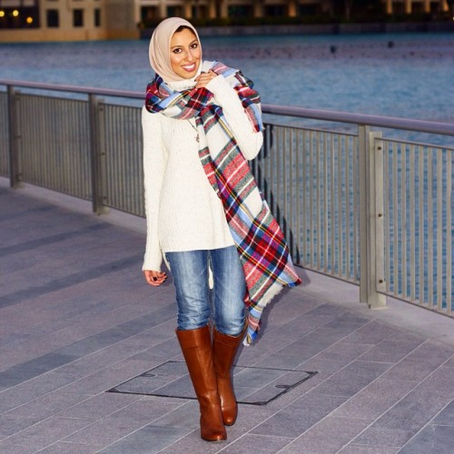 plaid scarf hijab fashion
