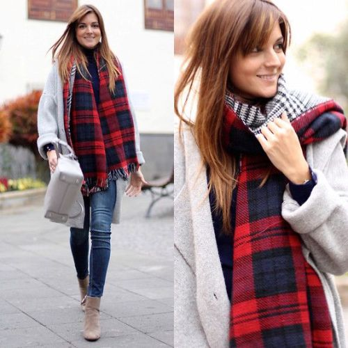plaid scarf with coat