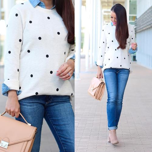 polka dots sweatshirt with jeans