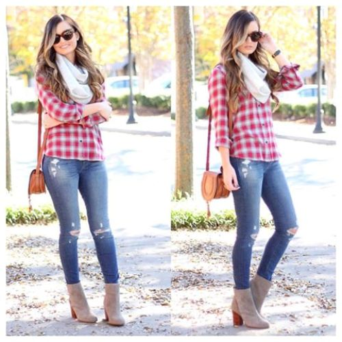 red plaid shirt stylish look