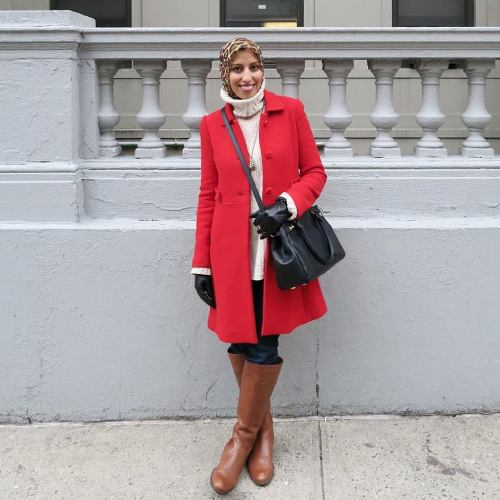 red trench coat hijab