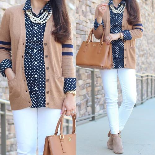 tan cardigan with blue shirt
