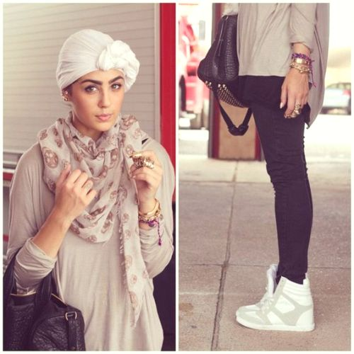 wedge sneakers with turban look