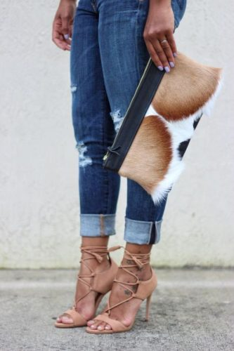 Awesome lace-ups & a statement clutch