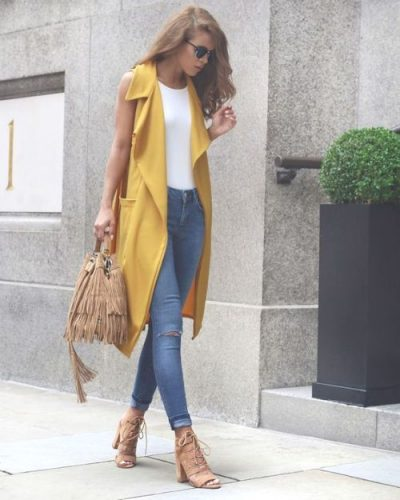Sleeveless Mustard Duster lace up heels